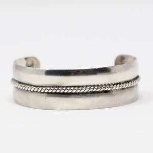 NAVAJO SIGNED Sterling HEAVY Braided Cuff Bracelet